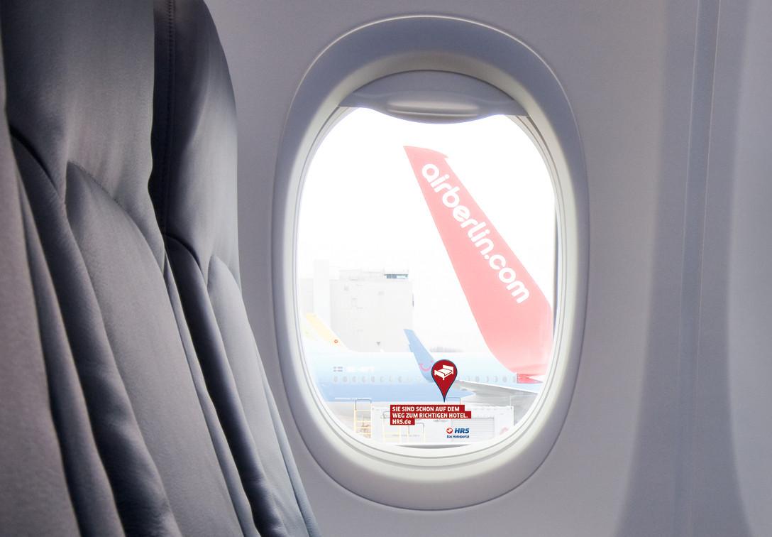 Fensterwerbung im Flugzeug - WindowBrandng - inflight advertising