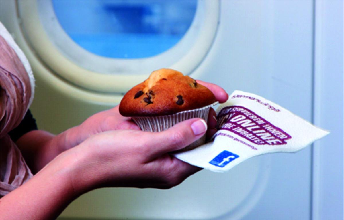 Servietten-Werbung - Flugzeug-Werbung
