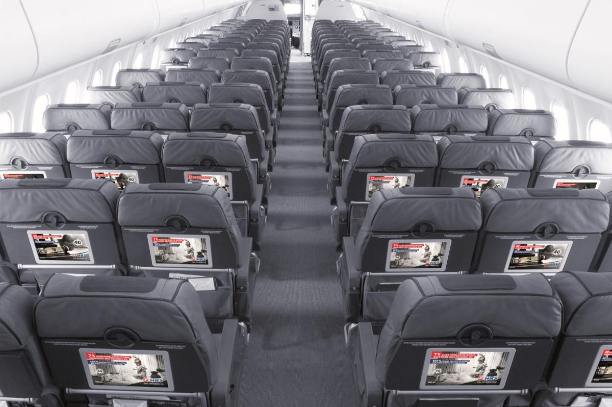 Flugzeug-Tischaufkleber Werbung in Eurowings Flugzeug