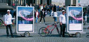 Werbeträger für die Fußgängerzone: Werbefahrräder von inovisco