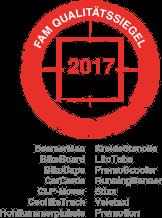 FAM Qualitätssiegel Siegel 2017 für Ambient Werbemedien der inovisco mobile Media AG