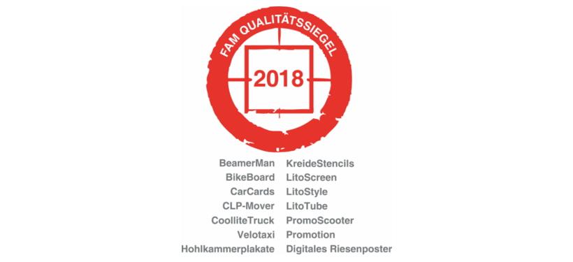 FAM Qualitätssiegel 2018 - inovisco Mobile Media GmbH Qualitäts-Zertifikat