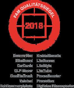 FAM Qualitätssiegel Siegel 2018 für Ambient Werbemedien der inovisco mobile Media GmbH