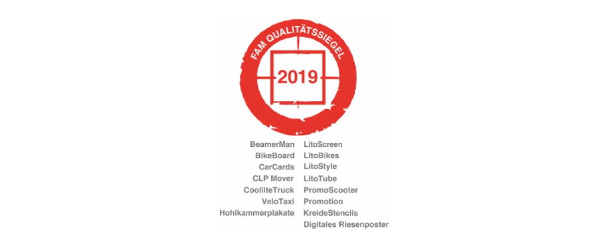 FAM Qualitätssiegel 2019 - inovisco Mobile Media GmbH Qualitäts-Zertifikat