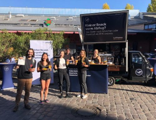 Promotion mit mobiler Kaffeebar für die Airline Lufthansa