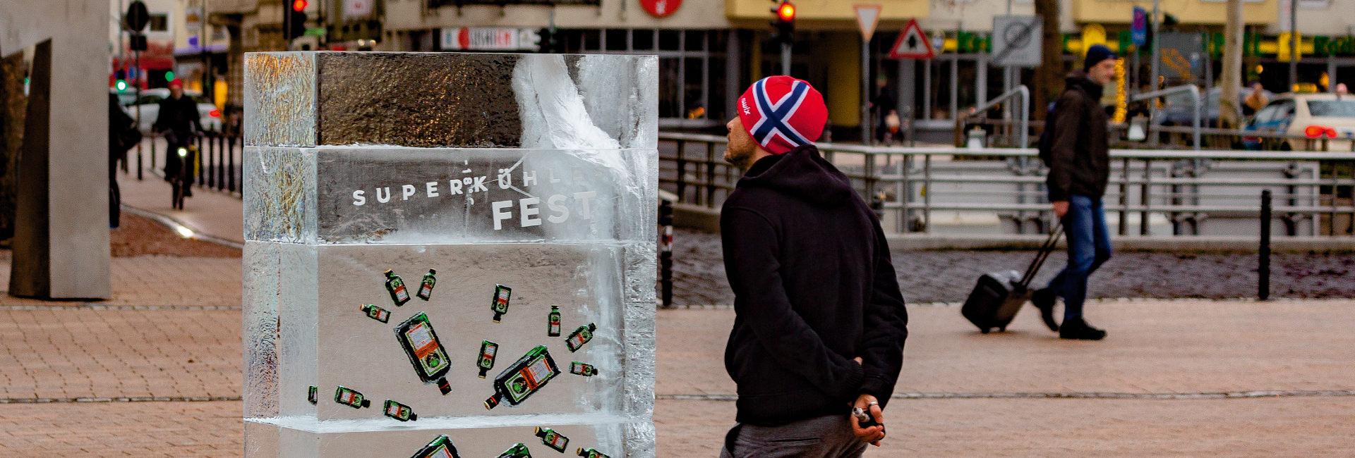 Jägermeisterflaschen in Eisblock