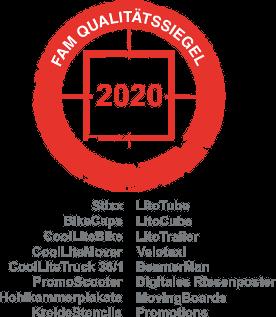FAM Qualitätssiegel Siegel 2020 für Ambient Werbemedien der Ambient Media Agentur inovisco mobile Media GmbH